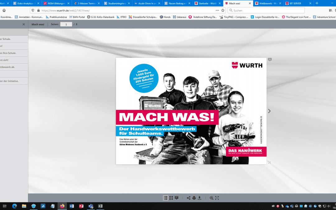 """Handwerkswettbewerb """"MACH WAS!"""" für Schulen – jetzt bewerben!"""